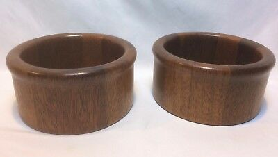 "2 Thick Walled Heavy Made in Malaysia Teak Wood Bowls 6-1/4"" across"