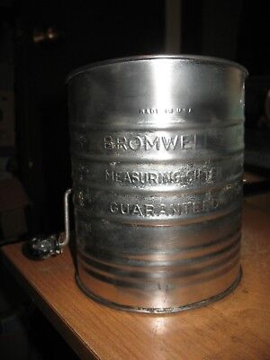Vintage Bromwell's Five Cup Measuring Sifter Flour USA Black Wood Knob Handle