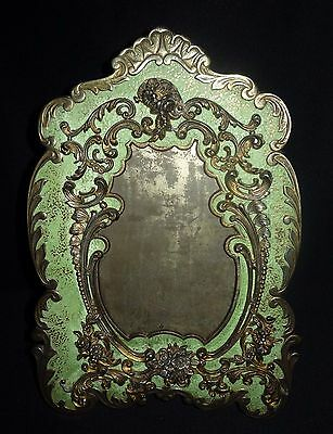 Antique National Brass & Iron Works American Victorian Rococo Brass Frame