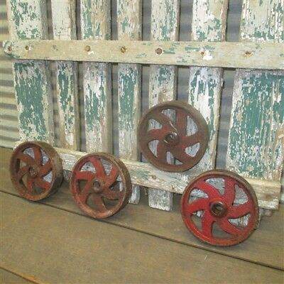 4 Factory Cart Wheels Cast Iron Vintage Lineberry Wheels Industrial Wheels a5