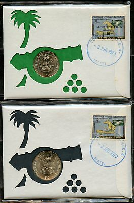 HAITI 20 & 50 centiimes UNC COINS ON TWO COVERS CANCELED  3 JUIL 1973 PORT AU PR