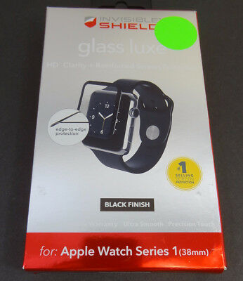 Used Zagg shield Glass Luxe HD Clarity Black For Apple watch Series 1 38mm