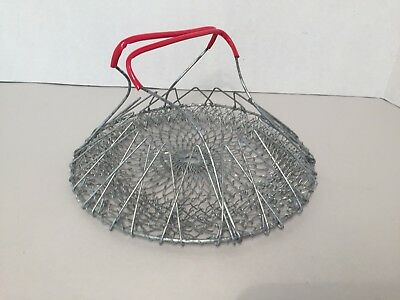 Vintage Expanding Wire Hanging Canning /Egg Basket w/ Red Handle Farmhouse Decor