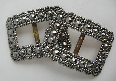 Victorian Cut Steel Shoe Buckle Clips Antique Marcasite Look Facet Signed France