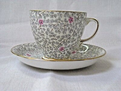 Sampson Smith Old Royal  Gray and Pink Chintz Bone China Tea Cup and Saucer