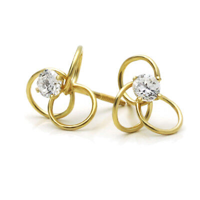 14K Yellow Gold Round Cubic Zirconia Celtic Love Knot Screwback Stud Earrings