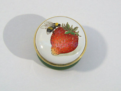 Halcyon Days Strawberry and Bumble Bee Enamel Trinket Box after Graham Rust