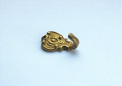 Brass Hook Wall Bracket Pictures Curtain Wardrobe Clothes Wall Hook L:2cm