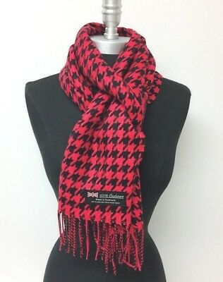 New 100% CASHMERE SCARF MADE IN SCOTLAND HOUNDSTOOTH DESIGN Red Black SOFT WRAP