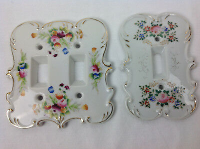 VTG Ceramic Porcelain Hand Painted Wall Light Switch Cover Single & DBL