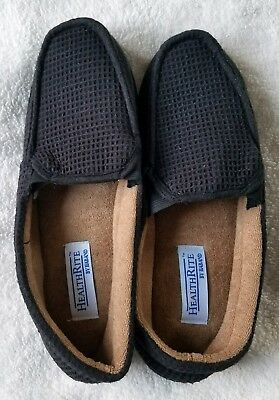 Men's size 9D black Waffle weave Health Rite slippers Haband