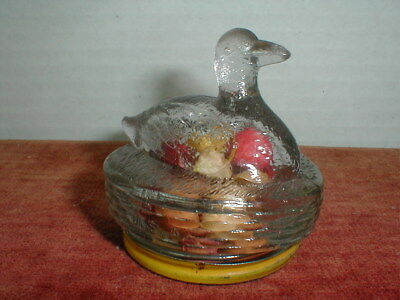 1930's VICTORY GLASS CO. - GLASS CANDY CONTAINER - DUCK ON ROUND BASKET