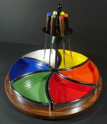 Mid Century Modern Melamine Chrome Appetizer Tray with Picks Multi Color Barware