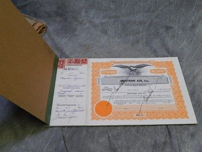 1946 Stock Certificate Book~Western Air Inc. certificated 1-50 (missing 1&3)