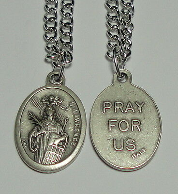 "St Lawrence Holy Medal 24"" chain Cooks Chefs Comics Restauranteurs Librarians"