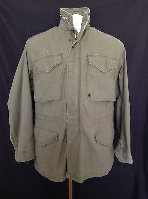 Vtg 80's Original US Army Issue Field Jacket Green Sz Large Military Fit