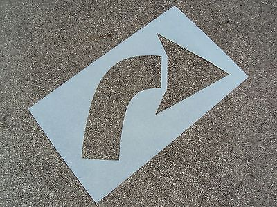 "40"" Turning, Curved, Parking Lot Arrow Stencil MATCHING HEIGHT Re-Usable 1/16"""