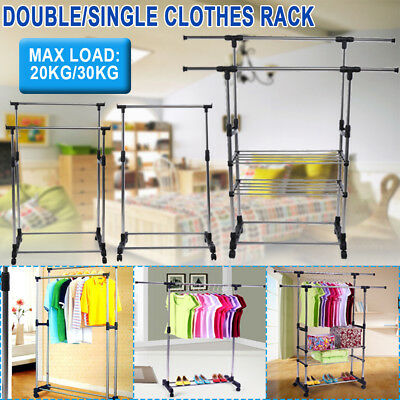 Double/Single Clothes Coat Garment Dryer Rack Rail Rolling Stand  Hanging Hanger