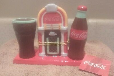 Coca-Cola Juke Box S&p Shakers & Tooth Pick Holder Magnetic Bottom Ceramic