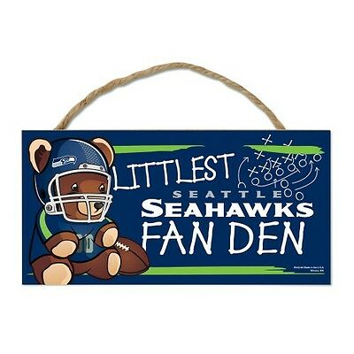 "Seattle Seahawks Littlest Fan 5""x10"" Fan Cave Wood Sign Authentic NFL Wall Decor"