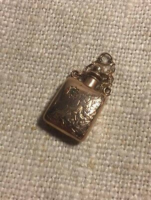 Antique English Art Nouveau 9kt 375 Gold Ornate Perfume Bottle Charm
