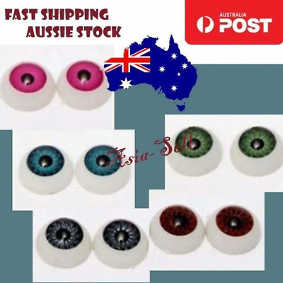 10pcs 12mm Dolls Eyeballs Half Round 8mm Iris Acrylic Eyes DIY Doll Bear Eye - A
