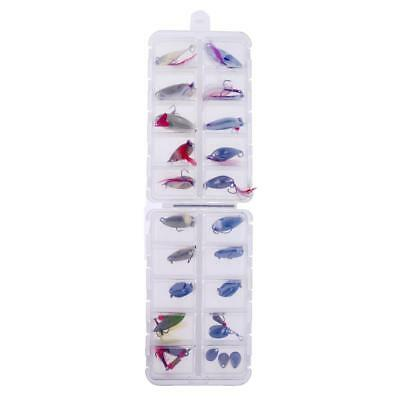 24Pcs/box Fishing Spoons Sequins Metal Fishing Lures Bass Baits with Hook