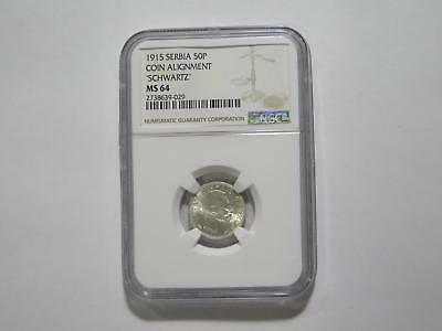 Serbia 1915 50 Para Schwartz Ngc Ms64 *looks Gem* Old World Coin Collection Lot