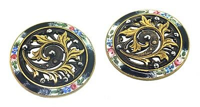 Antique 1890-1900 Pair of Large French Floral Hand-Enameled Cut Steel BUTTONS