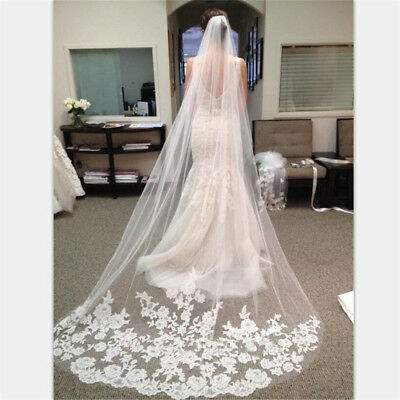 Appliques Tulle Long Cathedral Wedding Veil Lace Edge Bridal Veil with Comb MDAU