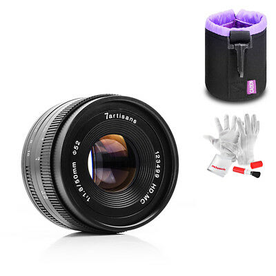 7artisans 50mm f1.8 Manual Fixed Lens For Fuji X-mount APS-C+ Lens Pouch+ Gift