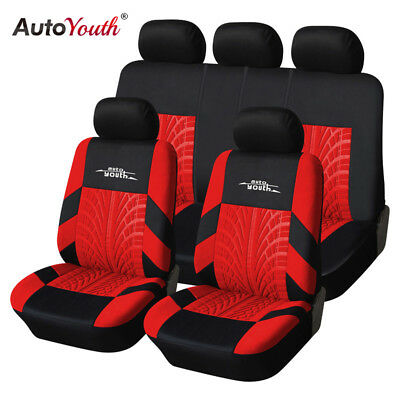 Track Detail Style Car Seat Covers Set Polyester Universal Car Protector Red