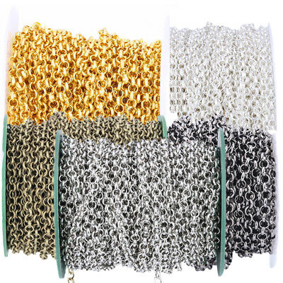 10M 6 Color Open Link Iron Metal Chain DIY Craft Necklace Jewelry Findings 3.2mm