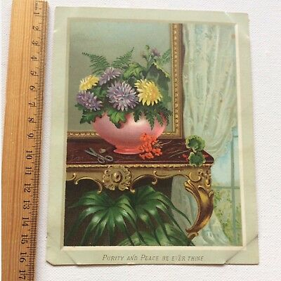 Antique Victorian Birthday Card 1884 Lithograph Verse Flowers Copyright C.D. Old
