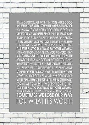 FOR WHAT IT'S WORTH – LIAM GALLAGHER Lyrics  Wall Art Print Poster A4