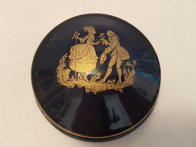 vintage, limoges cobalt blue lady gentleman  trinket box