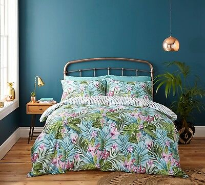 Catherine Lansfield Tropical Leaf Exotic Green Duvet Cover Bedding Set