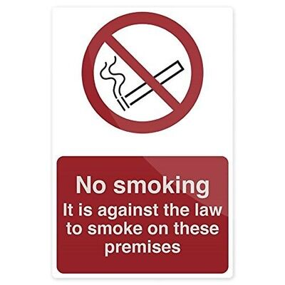 Fixman No Smoking - Against The Law Sign 200 x 300mm Rigid - Smoking Sign