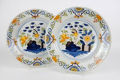 Lovely pair of XL Large 34cm 13,6in Dutch Delft 18th Century Chargers Dishes