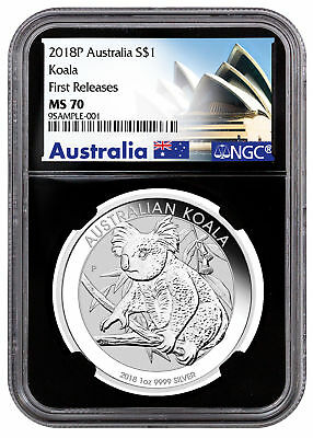 2018 Australia 1 oz Silver Koala $1 NGC MS70 FR Black Core Excl Label SKU52186