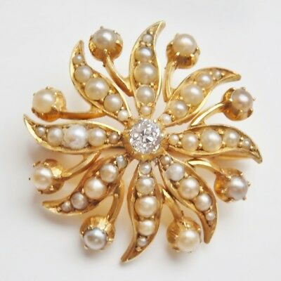 Antique Victorian 15ct Gold Diamond & Pearl set Flower Pendant Brooch c1885