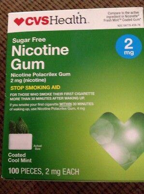 CVS Nicotine Gum 2mg 100 pieces Sugar Free Coated Cool Mint Flavor exp.01/2018