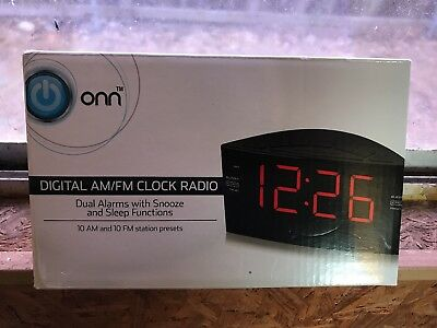Onn Ona15Av101 Black Digital Am/fm Clock Radio Dual Alarms Snooze Battery Backup