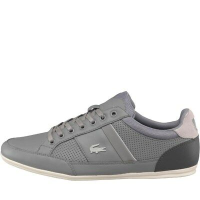 NEW Lacoste Mens Chaymon Trainers Grey/Dark Grey lace-up leather ALL SIZES