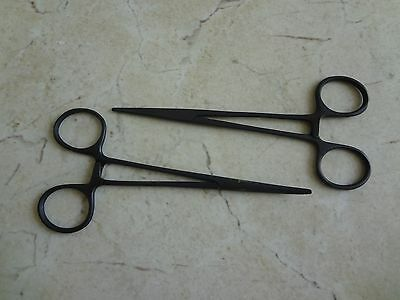 "New 2pc Fishing Set 5"" Straight + Curved Hemostat Forceps Locking Clamps (Black)"
