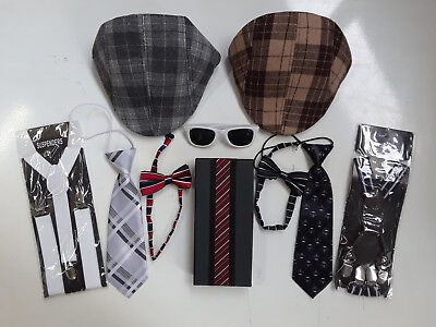 Newsboy Cap Boys Preppy Tie and Suspenders Accessory Fun Bundle
