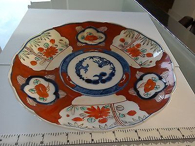 antique Japanese imari charger hand painted fluted rim c1920 vgc