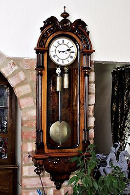 Antique Austrian Gebruder Resch Remember Twin Weight Vienna Wall Clock C1880