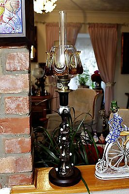 Vintage Very Rare Art Deco French 'Gaudard' Art Glass Oil Lamp