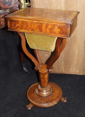 Victorian Walnut Sewing Works Table